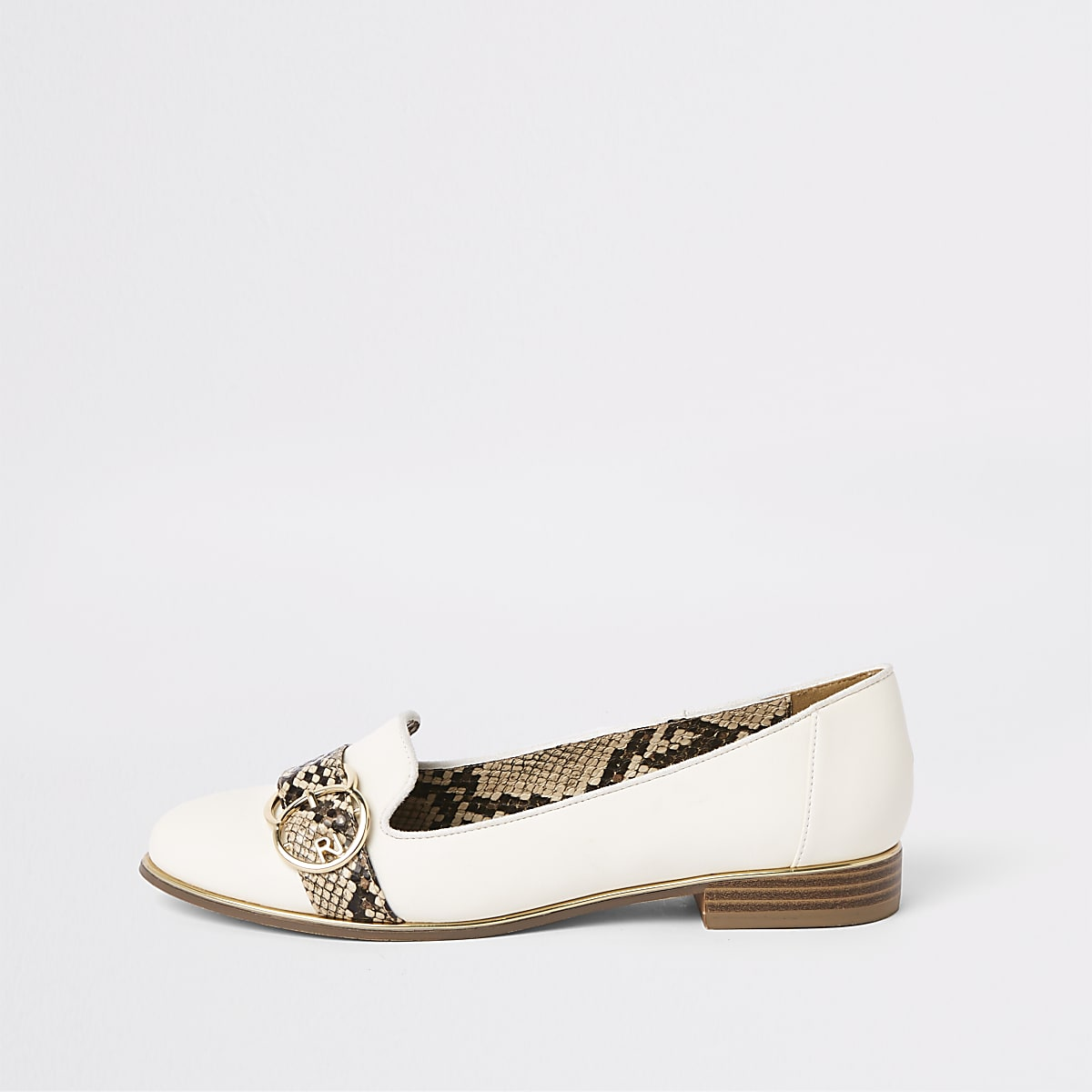 White snake print trim loafers