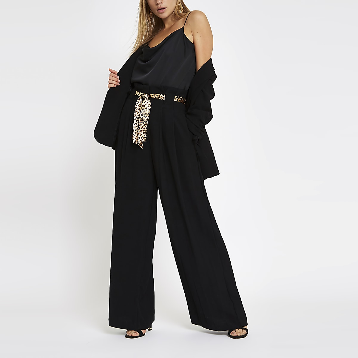 Black leopard print belted wide leg trousers