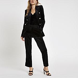 Black velvet cigarette pants