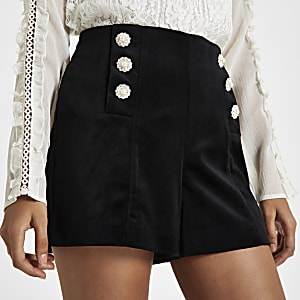 Petite black velvet embellished shorts
