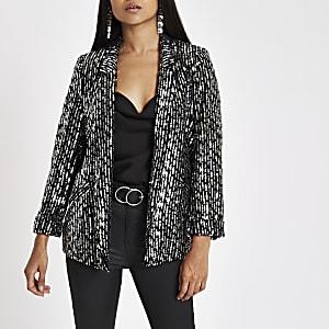 Petite black sequin embellished blazer