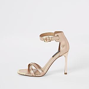 Roségoudkleurige minimalistische sandalen met brede pasvorm