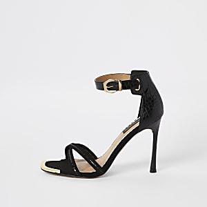 Zwarte minimalistische sandalen met krokodillenprint en brede pasvorm