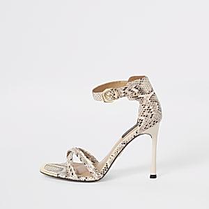 Grijze minimalistische sandalen met slangenprint en brede pasvorm