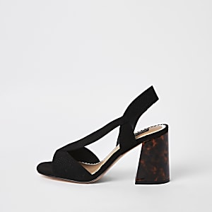 Black wide fit cross strap block heel sandal