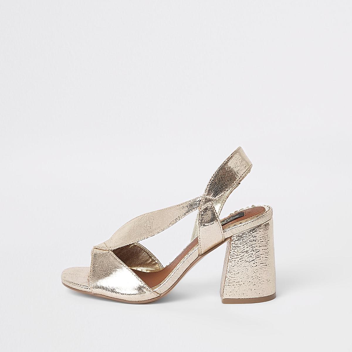 c98f9a17ce329 Gold wide fit cross strap block heel sandals - Sandals - Shoes & Boots -  women