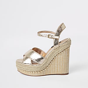 ca024ddf1d2 Gold Wide fit metallic platform wedges