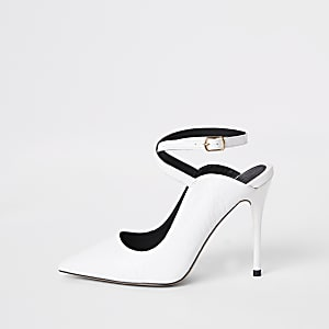 White ankle strap Wide fit pumps