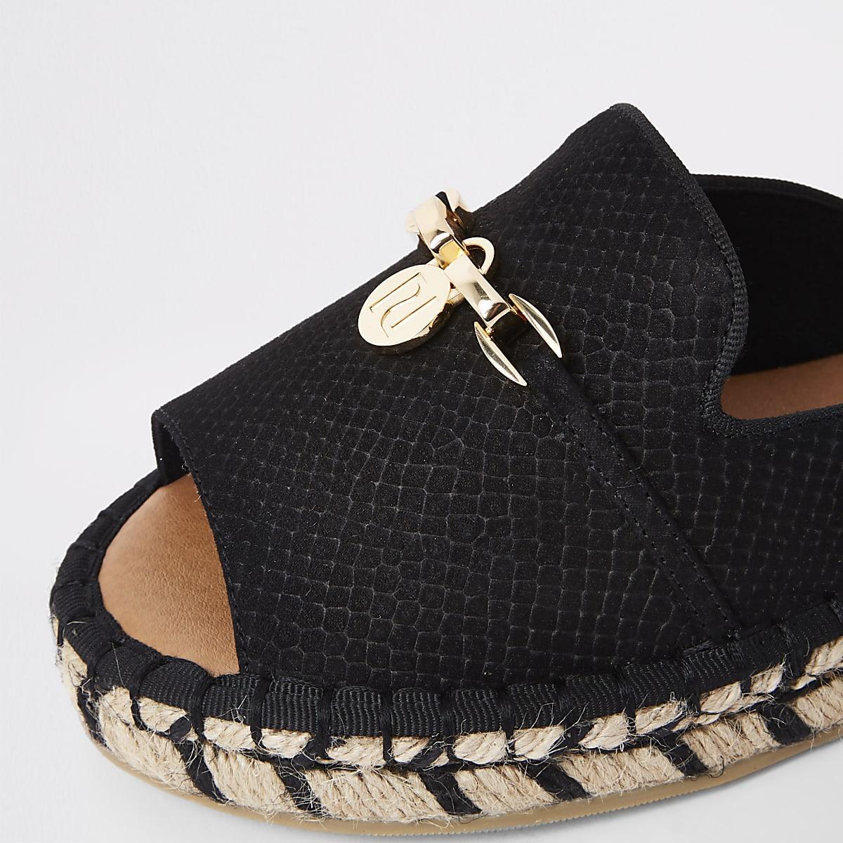e2e50fa3f4 Black espadrille peep toe wide fit sandals - Shoes - Shoes & Boots ...