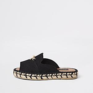 Sandales espadrilles noires à bout ouvert coupe large