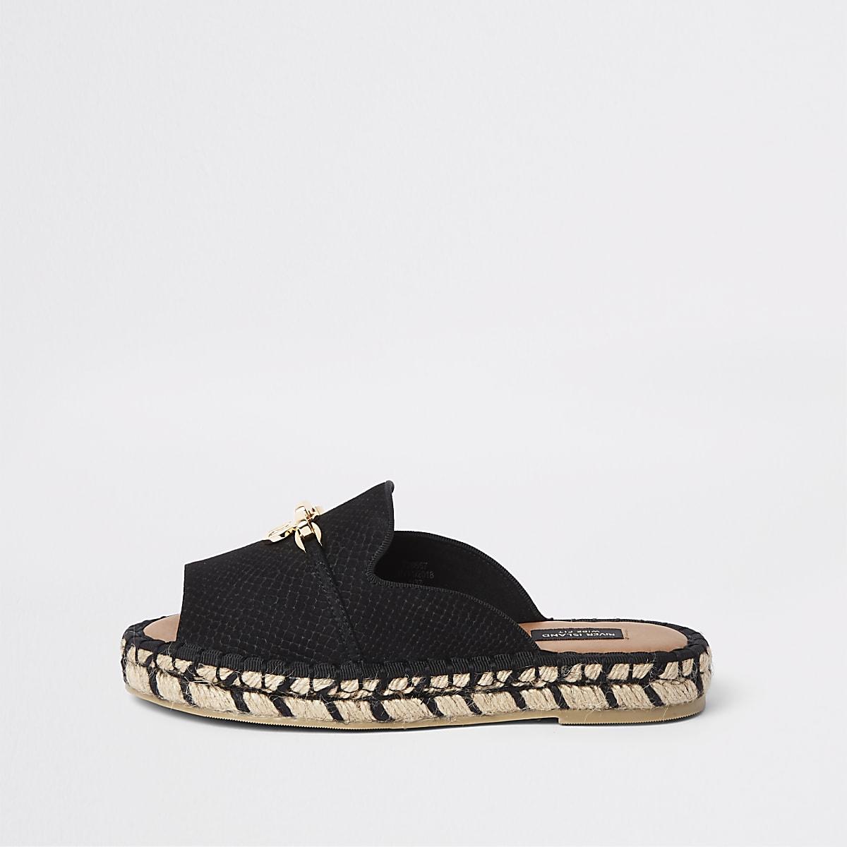 Zwarte peeptoe espadrillesandalen met brede pasvorm