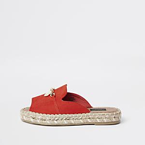 Sandales espadrilles rouges à bout ouvert coupe large