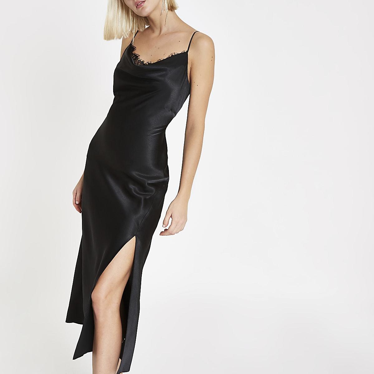 Black cowl neck lace trim maxi dress
