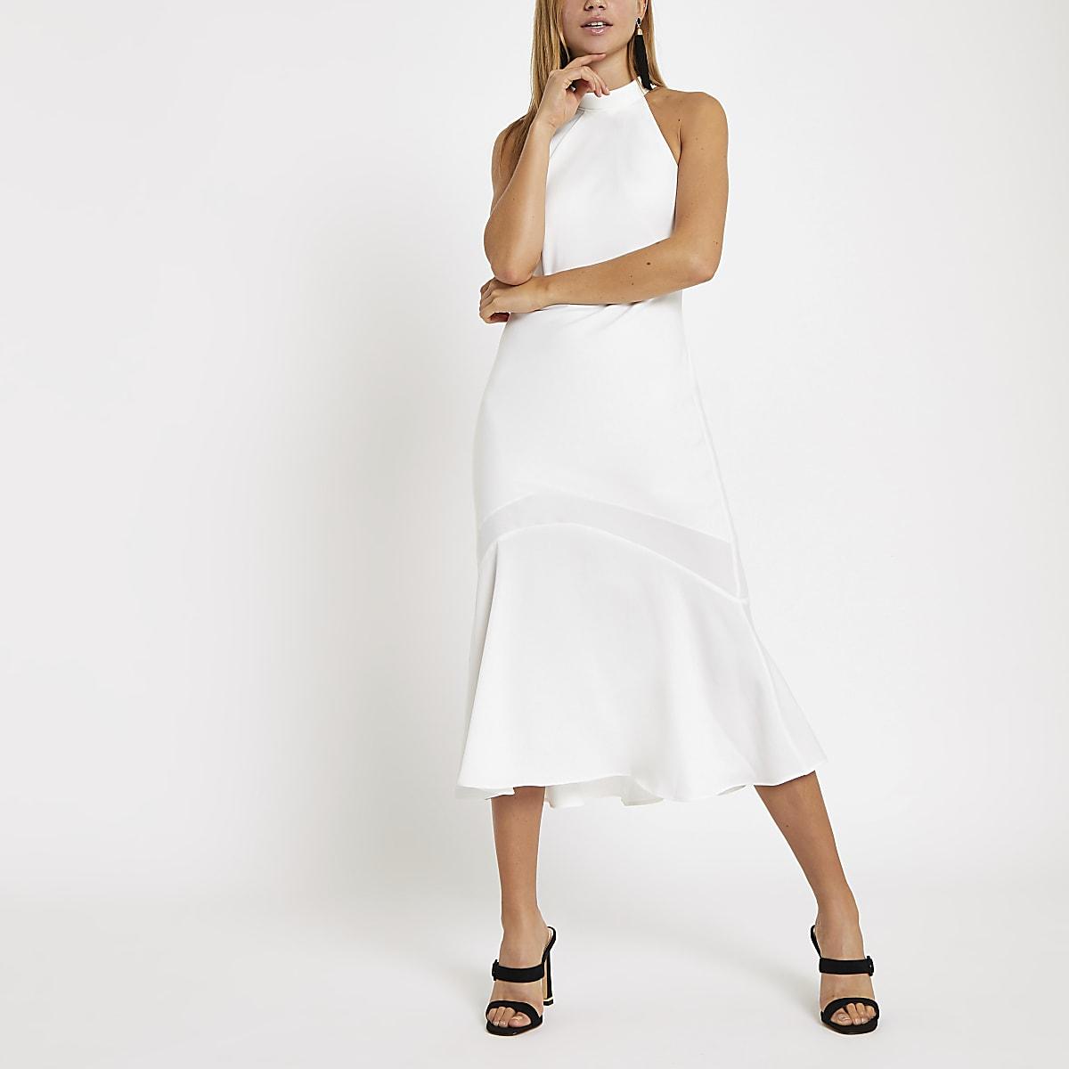 0562961946b White halter neck midi dress - Swing Dresses - Dresses - women