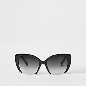 Lunettes de soleil œil de chat glamour noires à verres fumés
