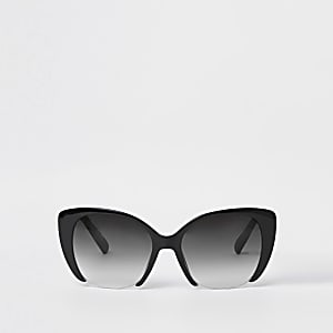 Zwarte glamoureuze cat-eye-zonnebril met grijze glazen