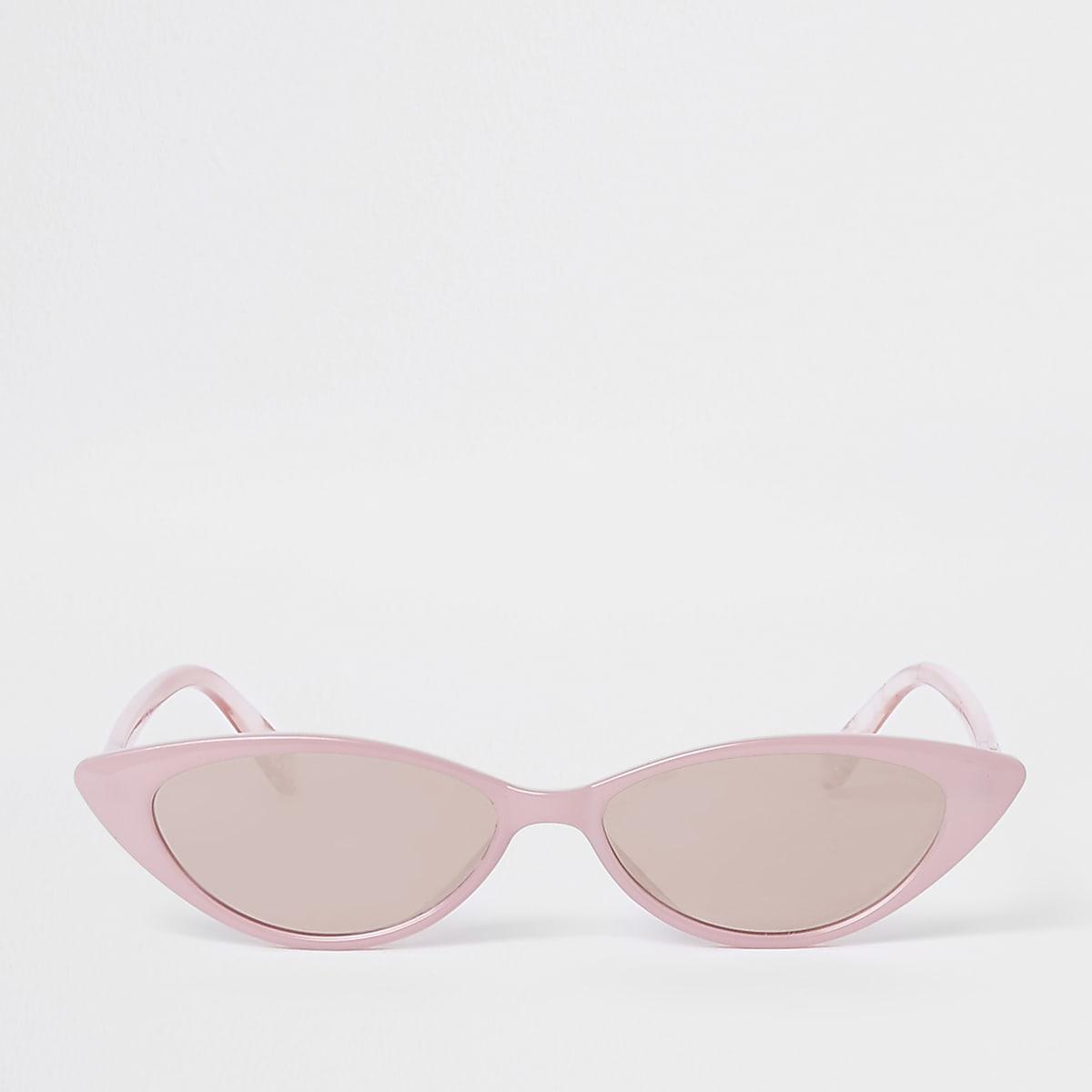 Smalle roze cat-eye-zonnebril