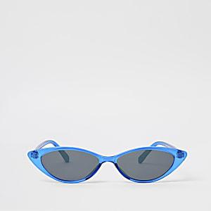 Blauwe smalle puntige kattenoogzonnebril