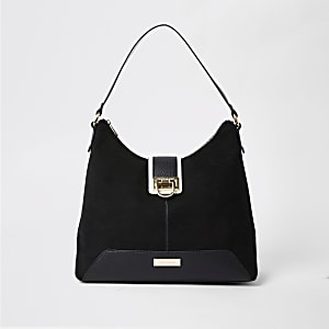 Black lock front slouch bag