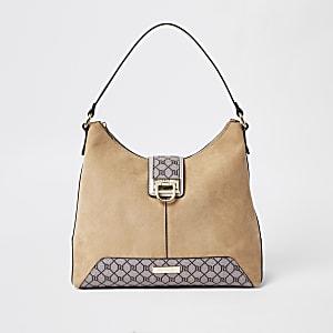 Beige RI monogram lock front slouch bag