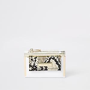White snake print mini foldout purse