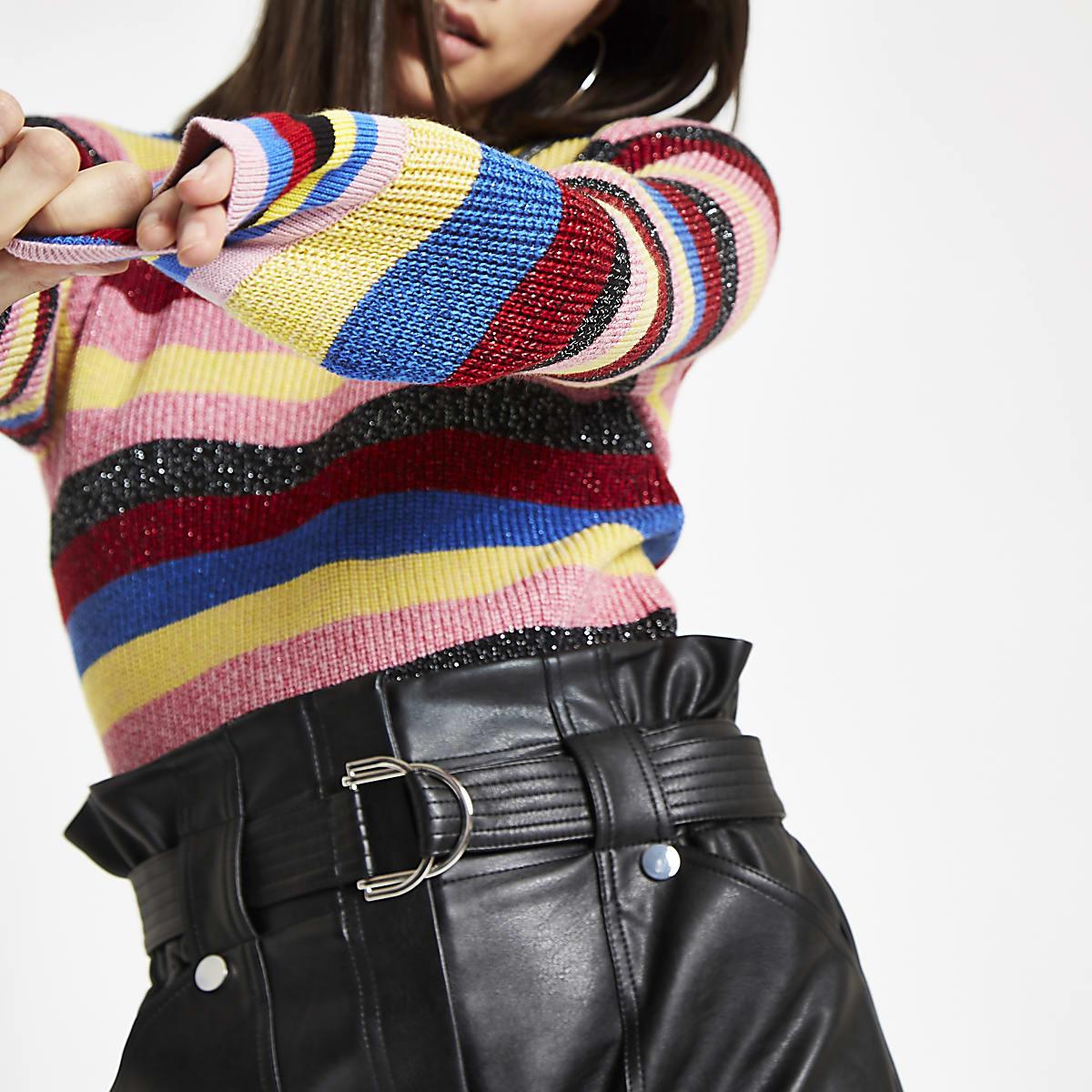 Pink rainbow stripe knit sweater