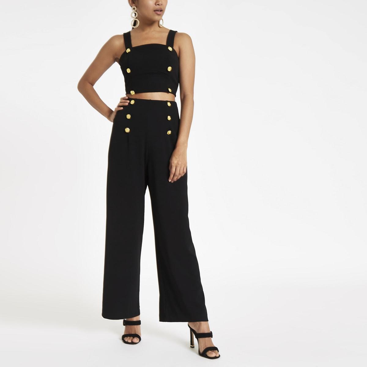 Petite black wide leg high waisted pants