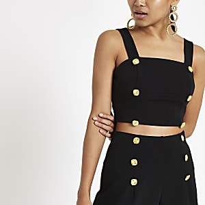 Petite black button detail crop top