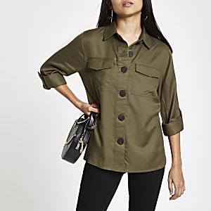 Petite – Veste-chemise kaki boutonnée sur le devant