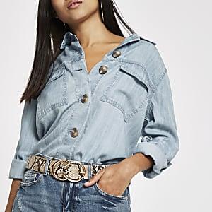 Petite – Veste chemise en denim bleu clair boutonnée devant