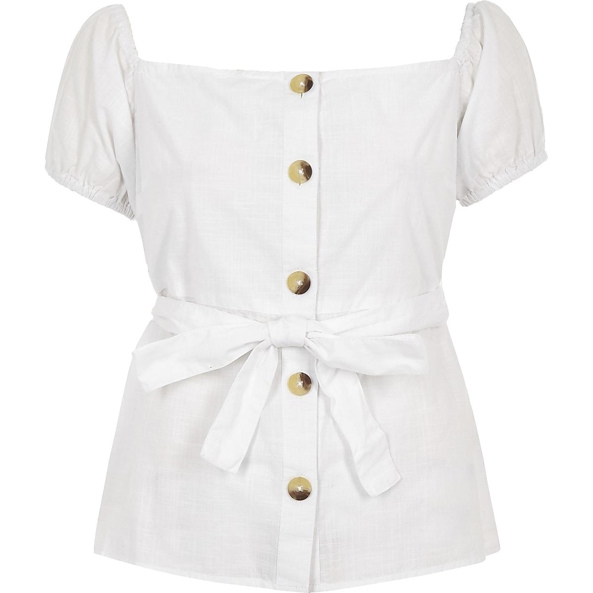 0d4815d212d755 Petite white bardot button top - Bardot   Cold Shoulder Tops - Tops ...