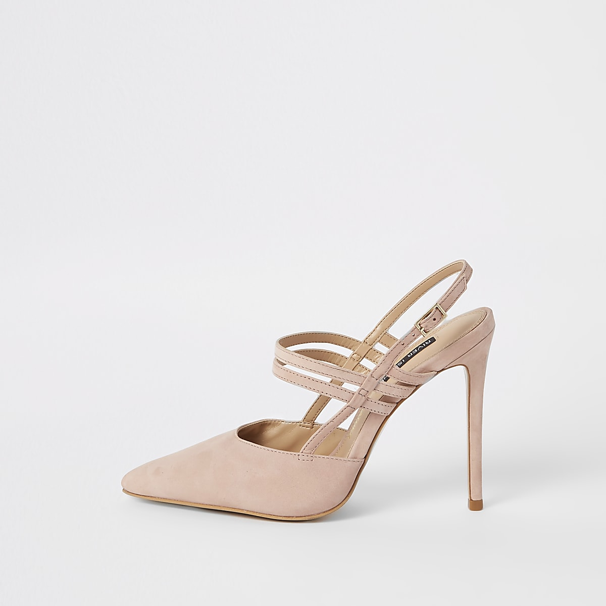 Light pink leather strappy pumps