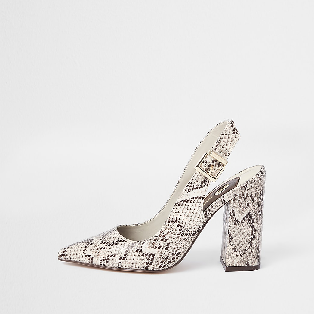 Beige snake print slingback court shoes