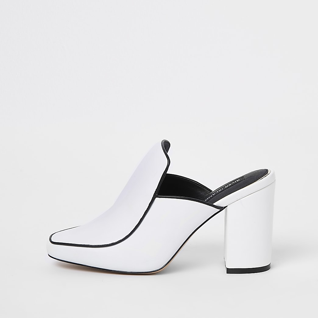 White leather closed toe mules
