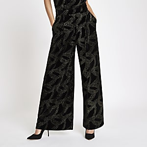Black glitter embellished wide leg pants