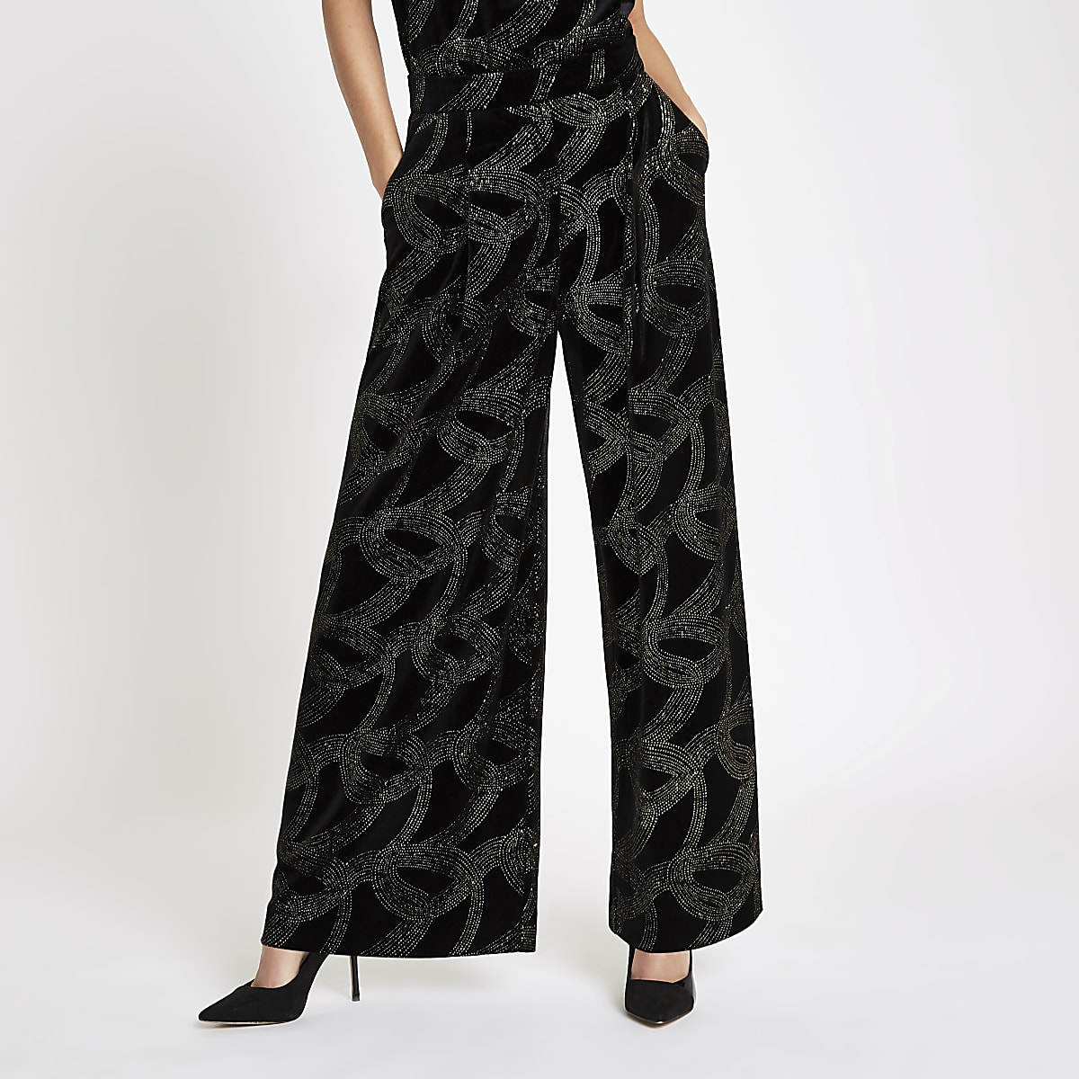 Black glitter embellished wide leg trousers