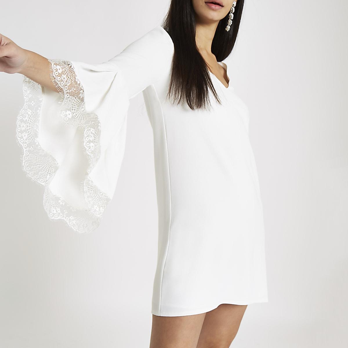b83669548fba White lace trim flare sleeve swing dress - Swing Dresses - Dresses - women