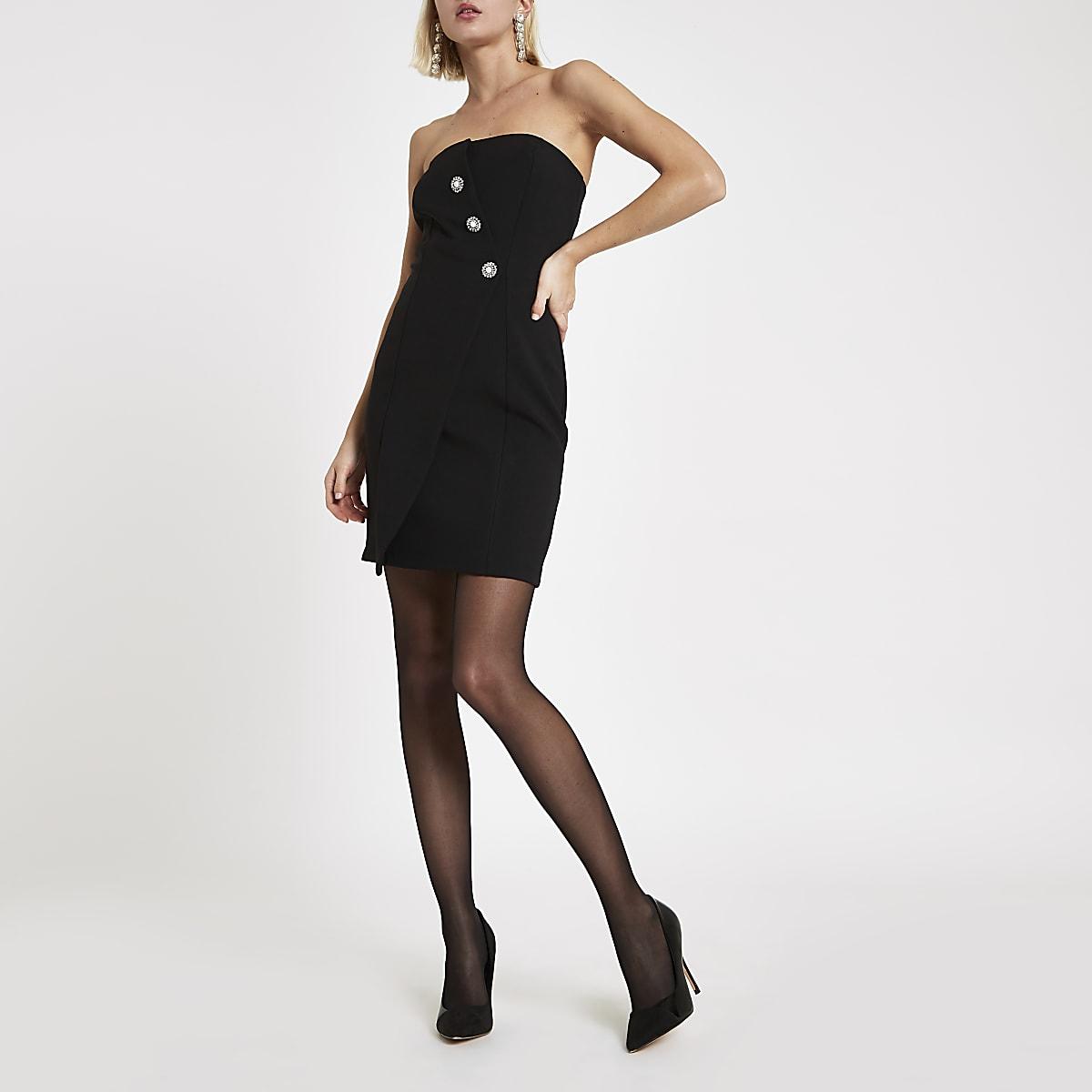 Zwarte mini-jurk in bandeaustijl met knopen voor