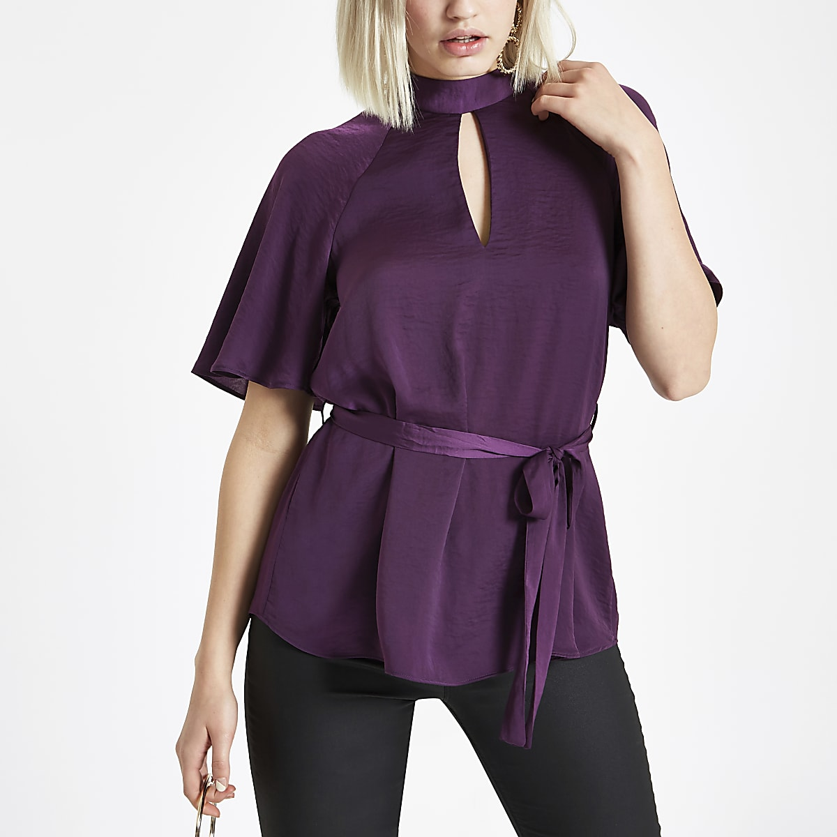 Purple short sleeve tie front blouse