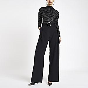Black diamante buckle wide leg trousers