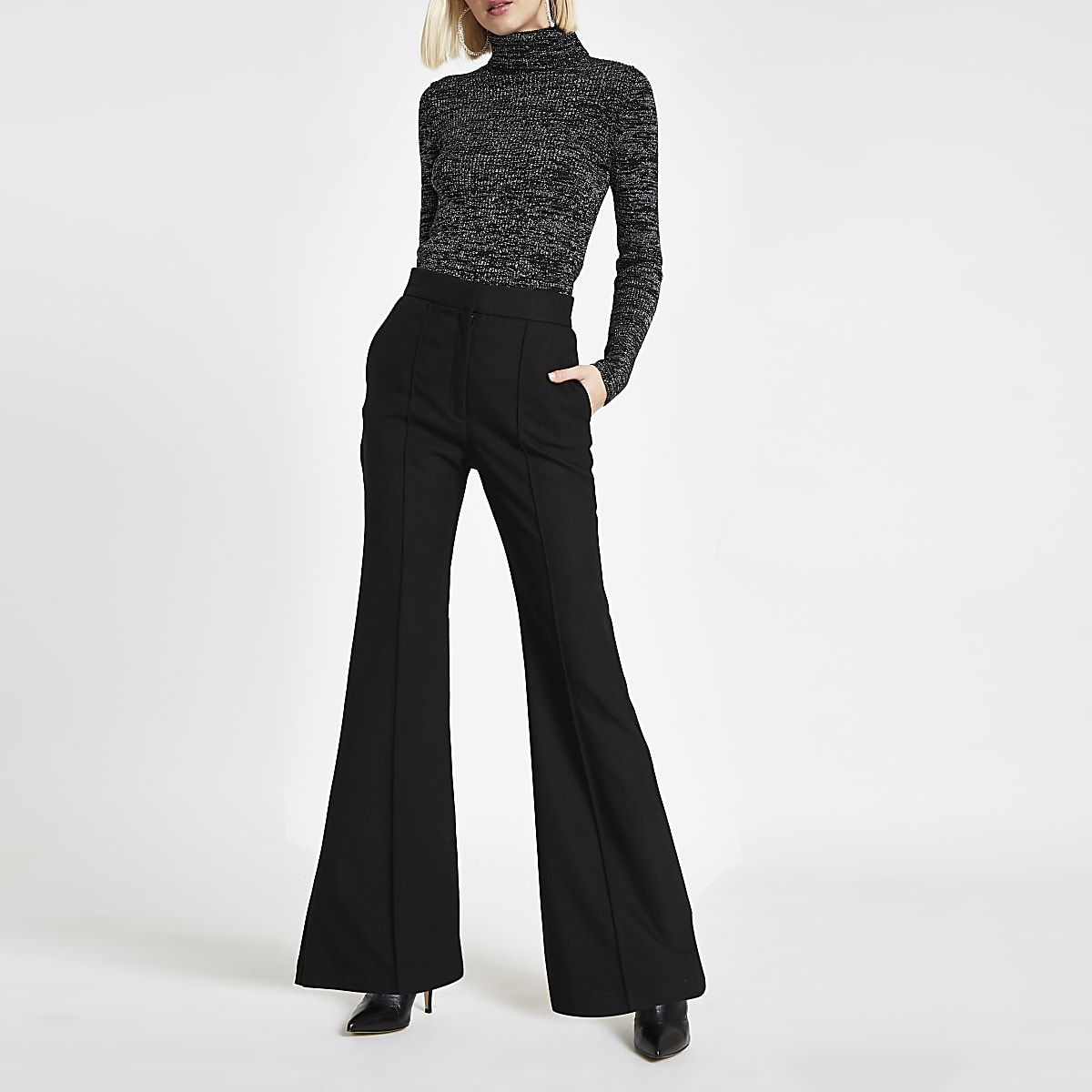 d949dd24c0fb Black flared trousers - Flared - Trousers - women