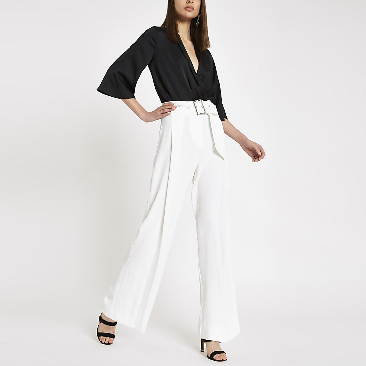 Cream rhinestone buckle wide leg pants