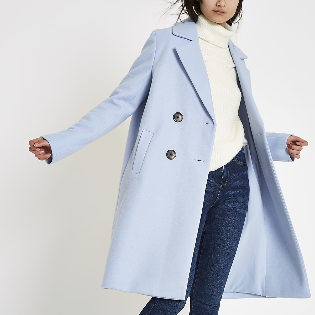 fb99b12b15a Blue knit double breasted coat - Coats - Coats   Jackets - women