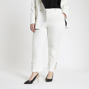 RI Plus - Crème smaltoelopende broek met knopen aan de zoom
