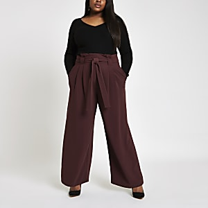 Plus burgundy paperbag wide leg pants