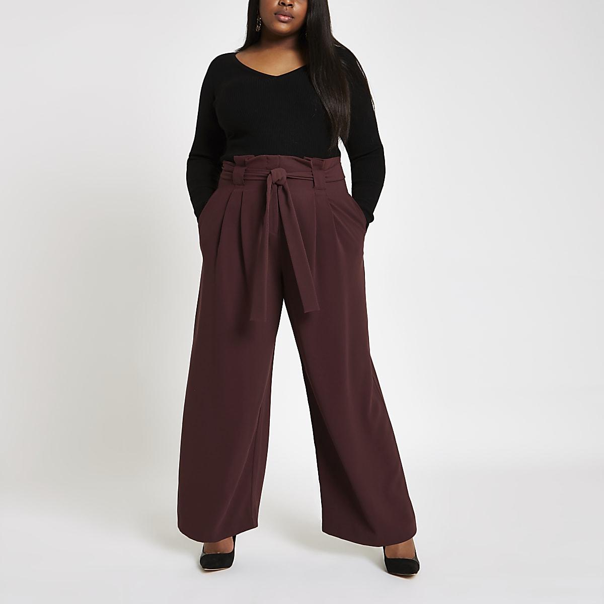 Plus – Pantalon large bordeaux à taille haute ceinturée