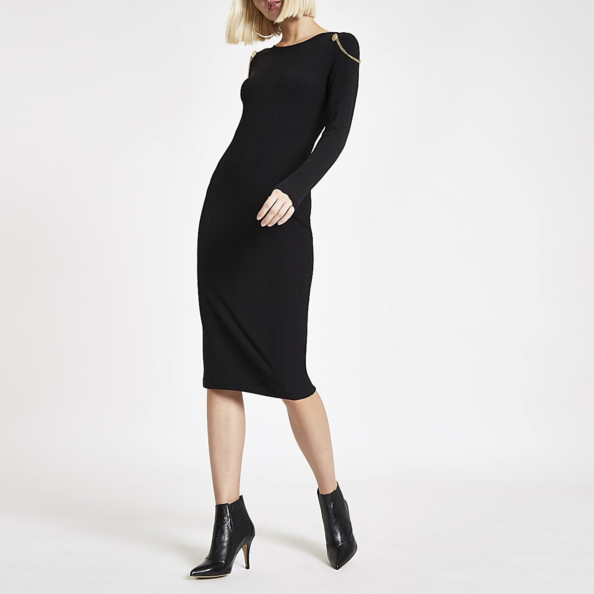 Black chain drape bodycon midi dress