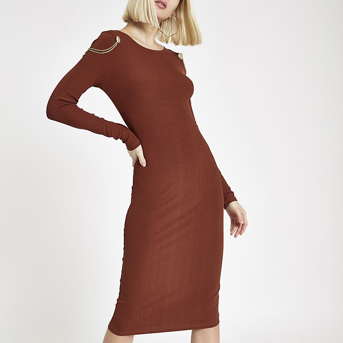 Orange chain drape bodycon midi dress