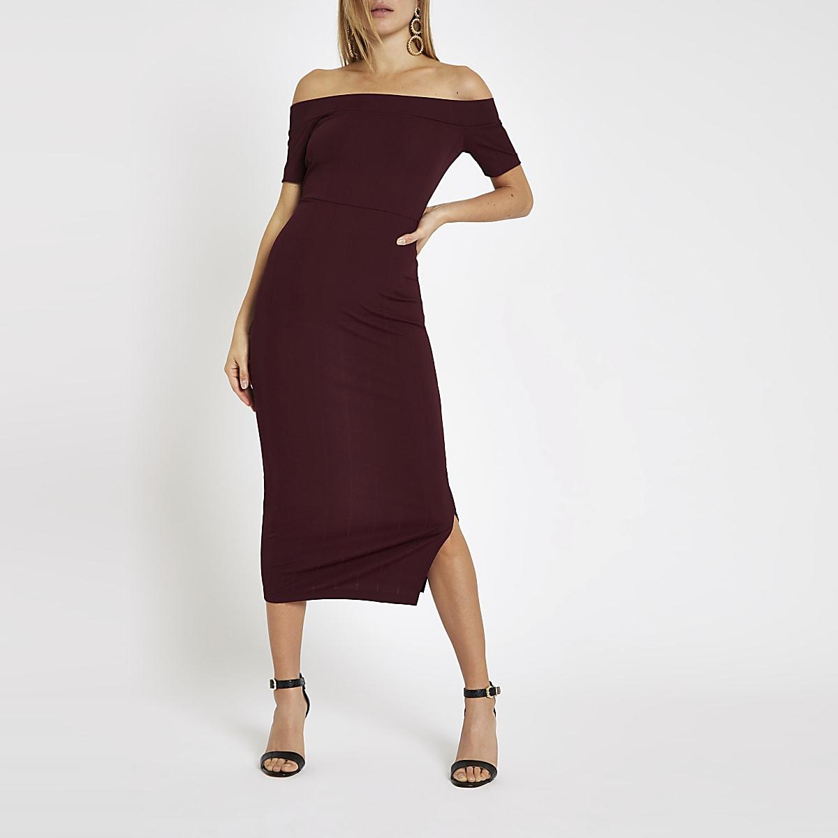 Burgundy ribbed bardot bodycon midi dress