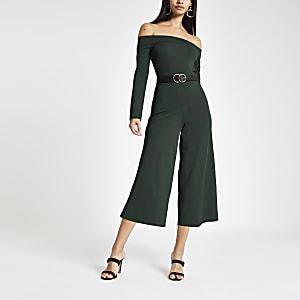 Green bardot neck wide leg jumpsuit